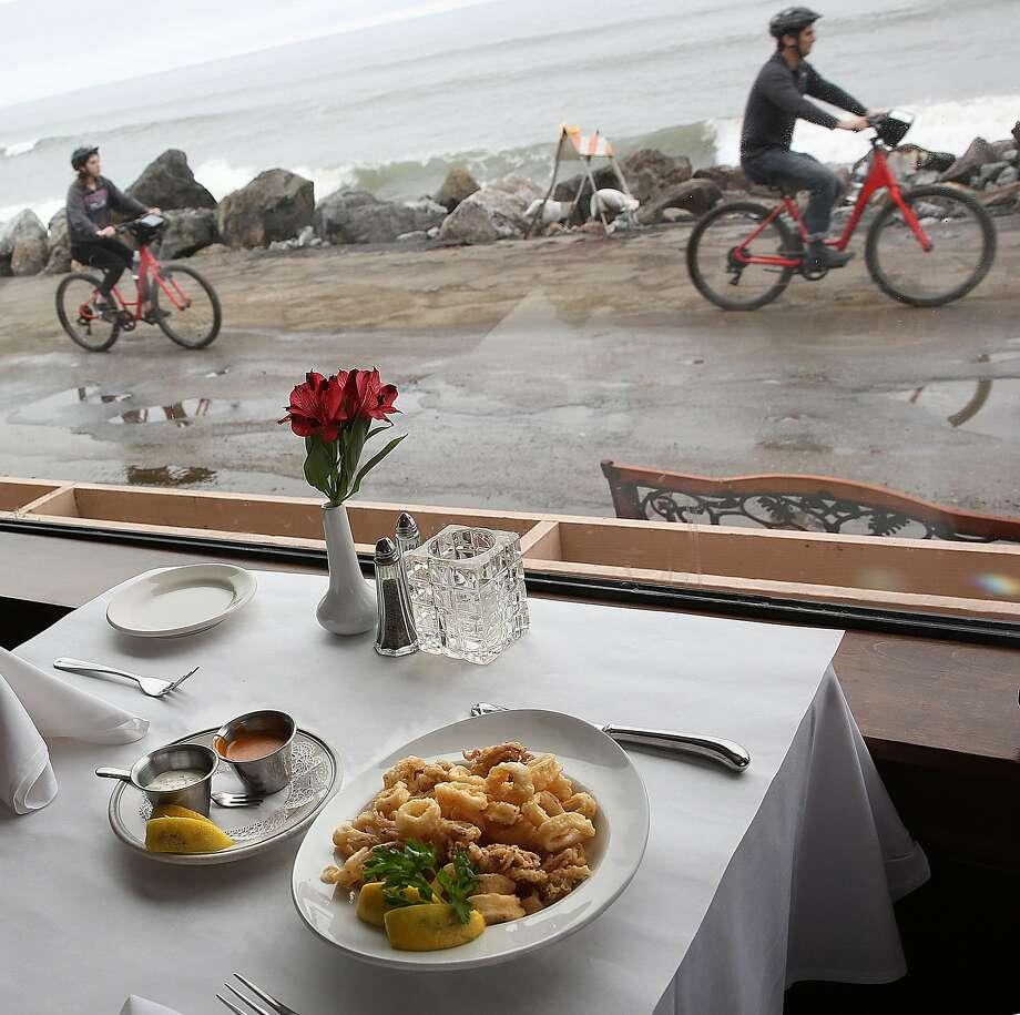Calamari with picante and tartar sauce at Miramar Beach Restaurant. Photo: Liz Hafalia, The Chronicle