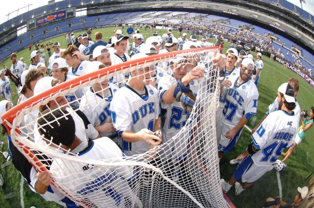 BALTIMORE, MD - MAY 31: The Duke Blue Devils celebrate winning the 2010 NCAA Division 1 Lacrosse Championship against the Notre Dame Fighting Irish on May 31, 2010 at M&T Bank Stadium in Baltimore, Maryland. (Photo by Mitchell Layton/Getty Images)