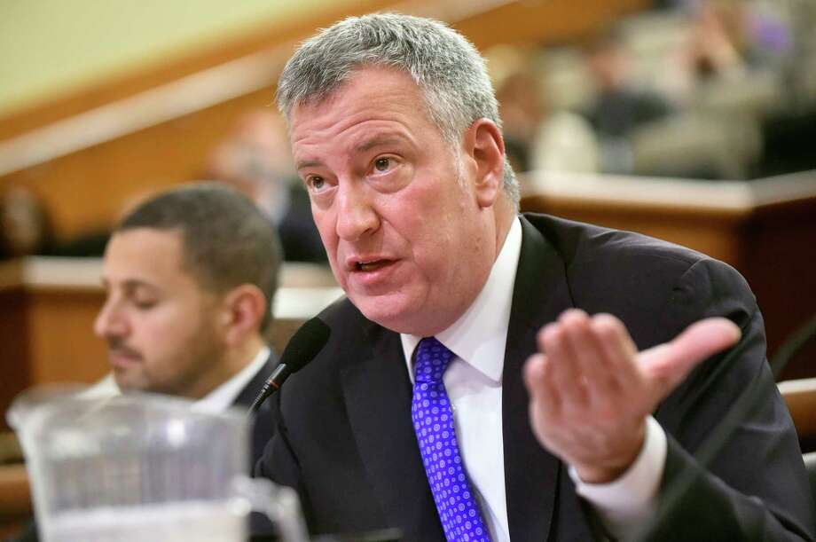 New York City Mayor Bill de Blasio appeals to the legislature during the local government hearing, also known as Tin Cup Day, on Tuesday, Jan. 26, 2016, at the Legislative Office Building in Albany, N.Y. (Cindy Schultz / Times Union) Photo: Cindy Schultz / 10035154A