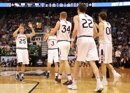 SALT LAKE CITY, UT - MARCH 16:  The St. Mary's Gaels celebrate the play against the Virginia Commonwealth Rams during the first round of the 2017 NCAA Men's Basketball Tournament at Vivint Smart Home Arena on March 16, 2017 in Salt Lake City, Utah.  (Photo by Christian Petersen/Getty Images)