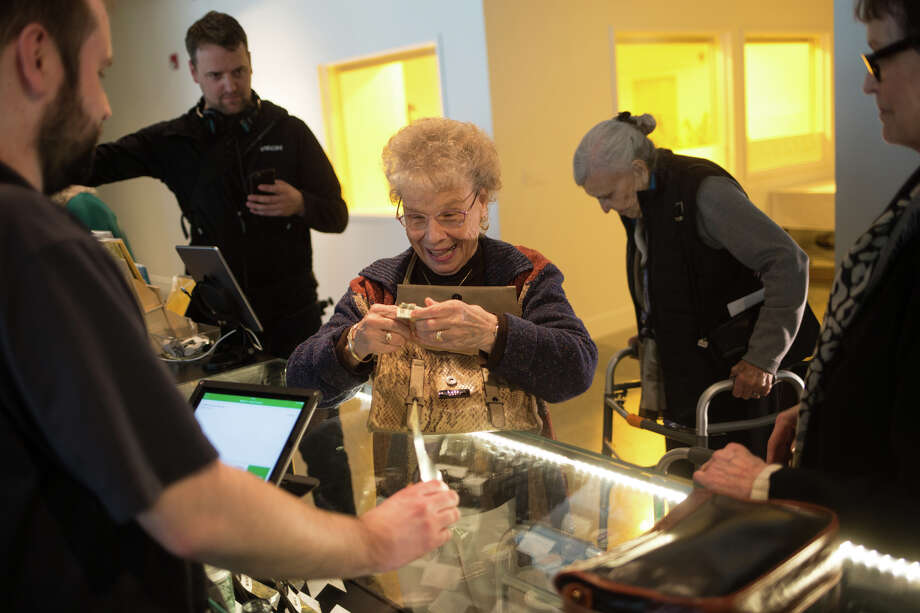 "Barbara Krause purchases a CBD joint rub following ""Cannabis 101 for Seniors"" at Vela in Seattle on Thursday, March 16, 2017. Photo: GRANT HINDSLEY, SEATTLEPI.COM / SEATTLEPI.COM"