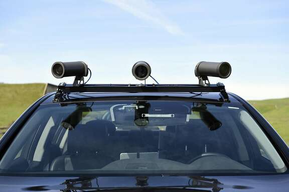 An array of cameras are mounted on the roof of an Accura RLX self-driving car at GoMentum Station as Honda runs tests on it's automated vehicles at GoMentum Station at the old Concord Naval Weapons Depot in Concord, CA, on Thursday March 16, 2017.