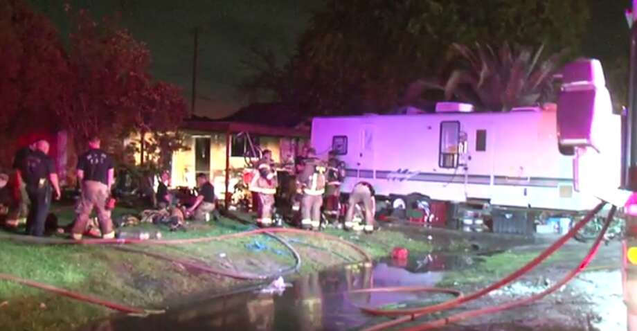 A house was destroyed after a fire broke out around 2:30 a.m. Friday morning in north Houston. There were no injuries. (Metro Video) Photo: Metro Video