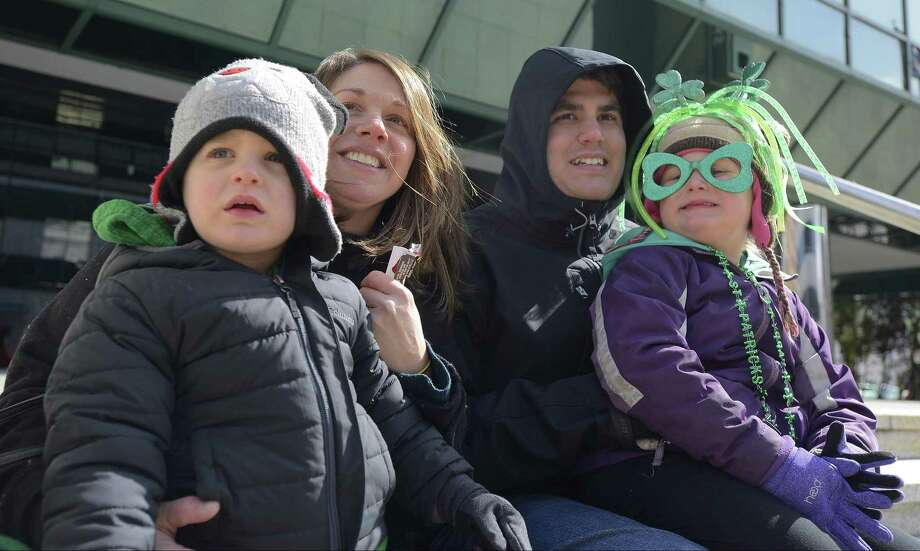 From left, Nick Jr., Toni Ann, Nick and Ava Rongoe of Darien enjoy the annual St. Patrick's Day parade in Stamford, Conn. on March 4, 2017. Photo: Matthew Brown / Hearst Connecticut Media / Stamford Advocate