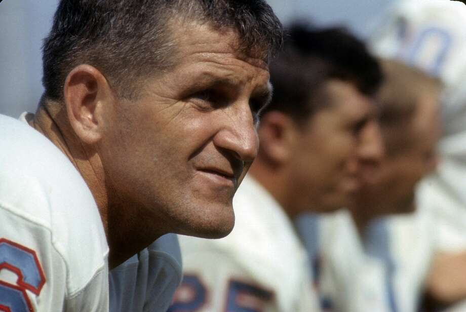 Quarterback/Kicker George Blanda #16 of the Houston Oilers watches the action from the bench circa mid 1960's during an NFL football game.  Blanda played for the Oilers from 1960-66. Photo: Focus On Sport/Getty Images