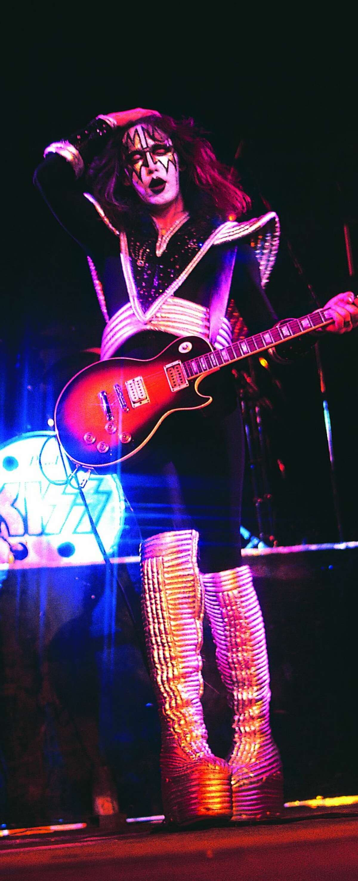 Lead guitarist Ace Frehley of American hard rock band KISS performing at The Summit on August 13, 1976 in Houston, TX.
