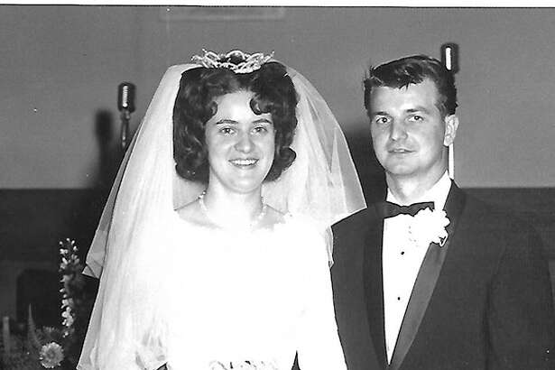Sharon and Tom Cadle on the day of their wedding.