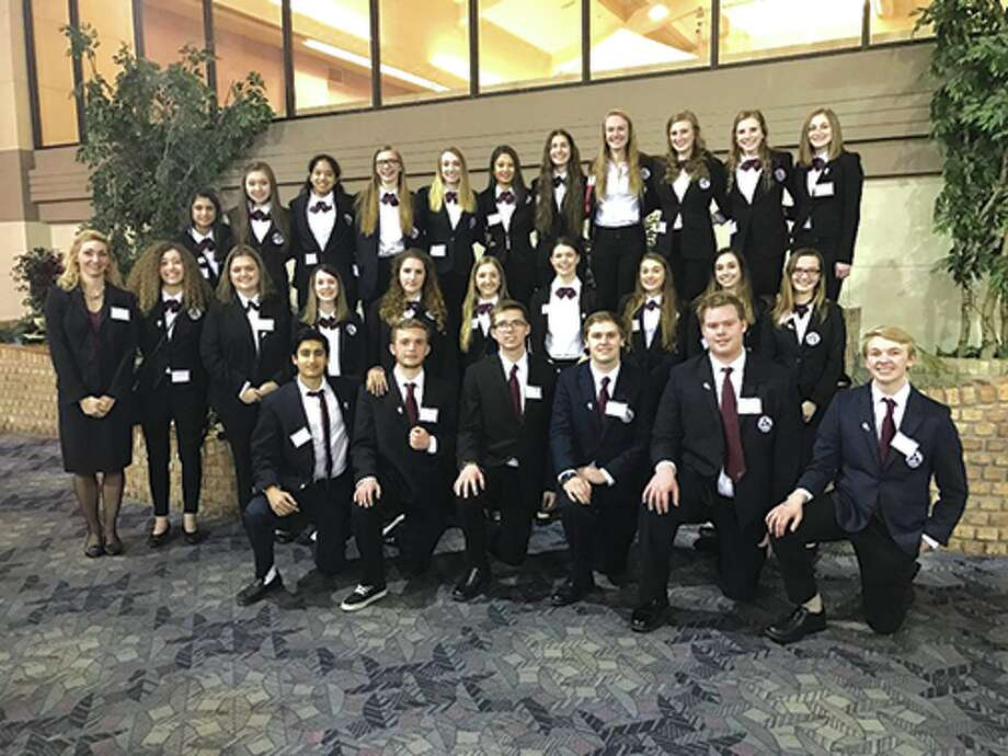 Pictured are members of the Edwardsville High School Health Occupations Students of America team, which recently took part in the state competition. Photo: For The Intelligencer