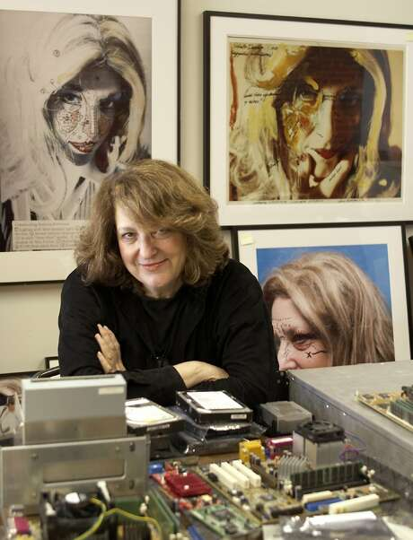 Lynn Hershman Leeson with some of her work. Photo: Ethan Kaplan