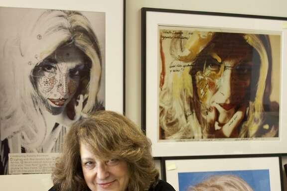 Lynn Hershman Leeson with some of her work