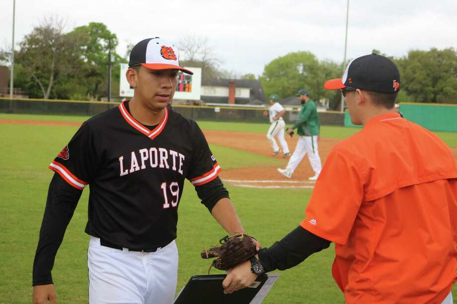 La Porte pitcher  Eric Chavez comes off the field after throwing another inning of no-hit ball against Pasadena Thursday afternoon. His bid at the no-hitter was lost with two outs in the fifth. Photo: Robert Avery