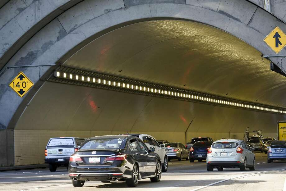 Cars drive into the Westbound Yerba Buena Tunnel of the Bay Bridge in San Francisco, CA, on Friday March 17, 2017. Photo: Michael Short, Special To The Chronicle