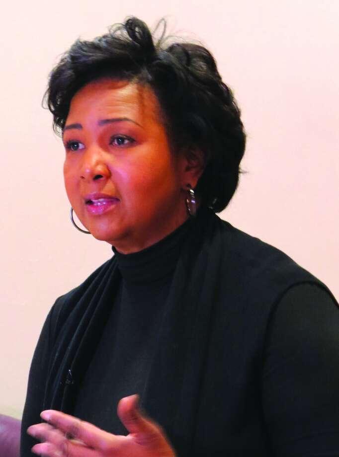 Dr. Mae Jemison speaks Thursday at SIUE. Photo: Carol Arnett • Intelligencer