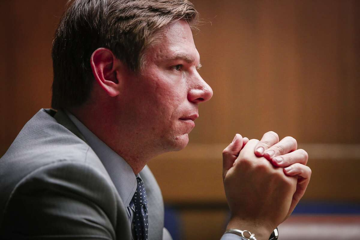 Congressman Eric Swalwell, Jr., speaks to the Chronicle editorial board on Friday, June 19, 2015 in San Francisco, Calif.