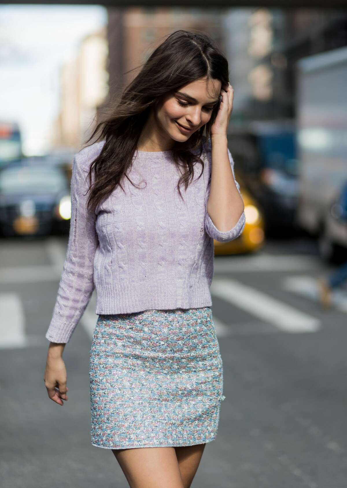 Model Emily Ratajkowski wearing a cropped knit, mini skirt outside Marc Jacobs on February 16, 2017 in New York City.