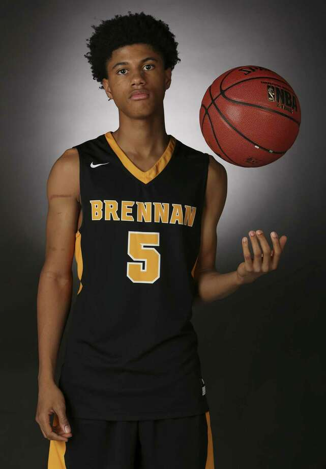 Portrait of Brennan sophomore Jacari Sanders, the 2016-17 Boys Basketball Express-News Super Team Newcomer of the Year. Photo: Edward A. Ornelas, Staff / San Antonio Express-News / © 2017 San Antonio Express-News
