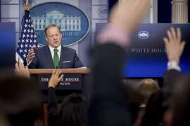 White House press secretary Sean Spicer talks to the media during the daily press briefing at the White House in Washington, Thursday, March 16, 2017. Spicer discussed President Donald Trump's assertion that former President Barack Obama wire tapped him, the Trump Administration's proposed budget, and other topics. (AP Photo/Andrew Harnik)
