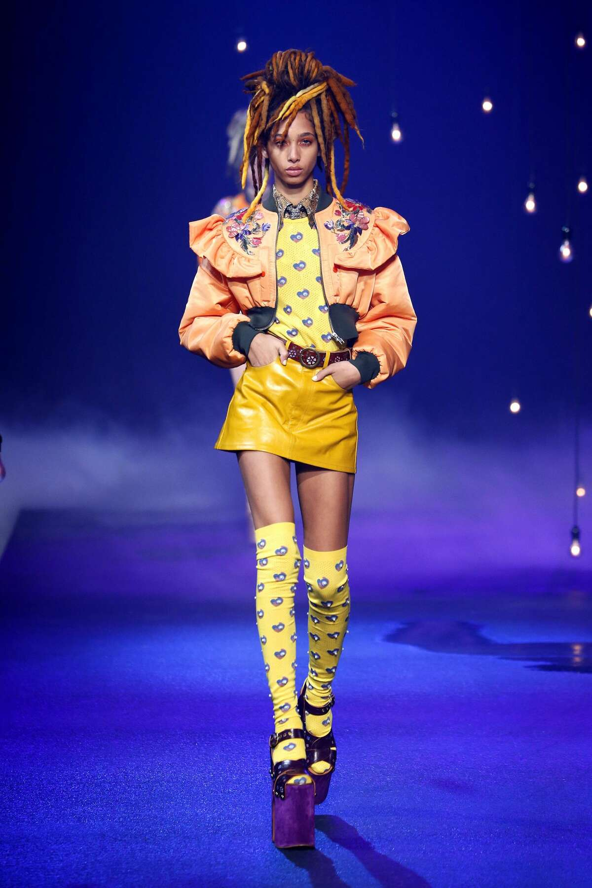 A models walks the runway at the Marc Jacobs show on September 15, 2016 in New York City.