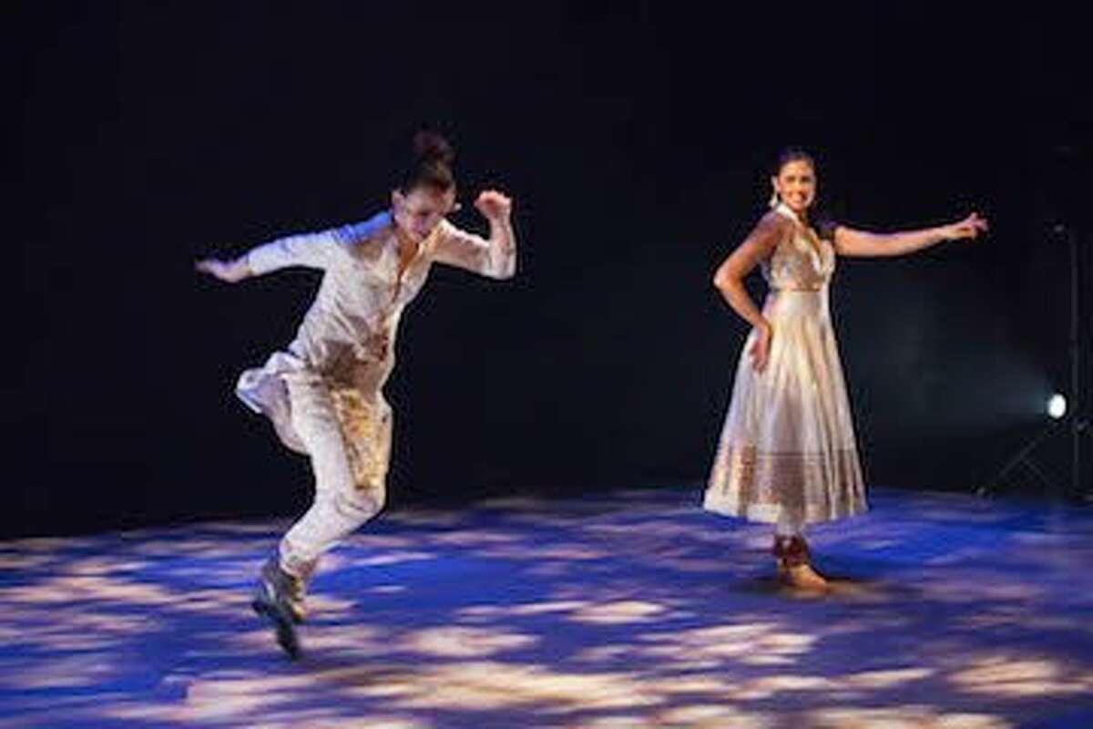 Photo for Leela Dance Collective's SPEAK. Artistic Direction/Choreography by Rachna Nivas, Michelle Dorrance, Dormeshia Sumbry-Edwards, and Rina Mehta. Dancers (L to R): Michelle Dorrance and Rina Mehta. Credit: Margo Moritz