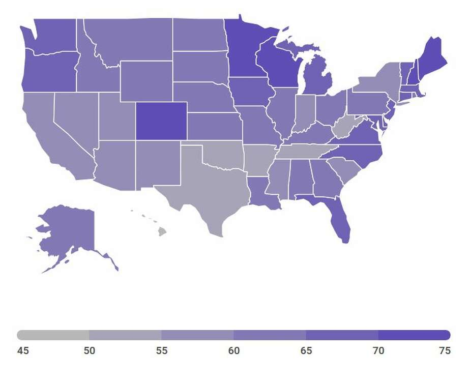 "A map showing voter turnout in the 2016 general election according to the US Elections Project report titled ""America Goes to the Polls."" Minnesota ranked #1 with the highest rate of voter turnout* in the 2016 general election (75 percent), and Hawaii ranked last (43 percent). New York ranked #41 with a 57 percent turnout. (Cathleen F. Crowley/Times Union) Photo: Crowley, Cathleen"