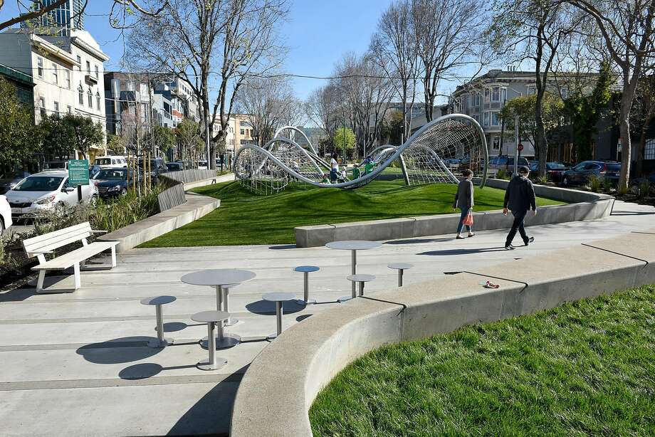 South Park's latest makeover — one of many in its 160 years — is inclusive, from the streamlined play structure, to benches with armrests to accommodate laptops, to space for homeless people to stretch out. Photo: Michael Short, Special To The Chronicle