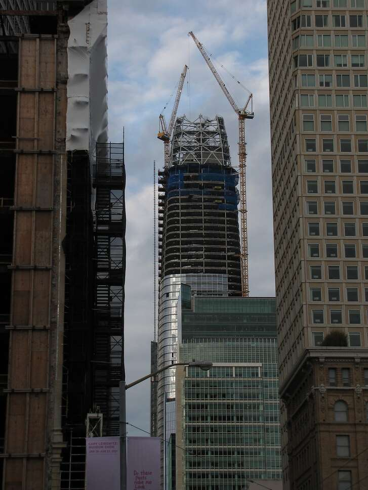 The summit of Salesforce Tower on March 15, 2017. Within a month, the city's new tallest structure will be topped off at 1,070 feet.