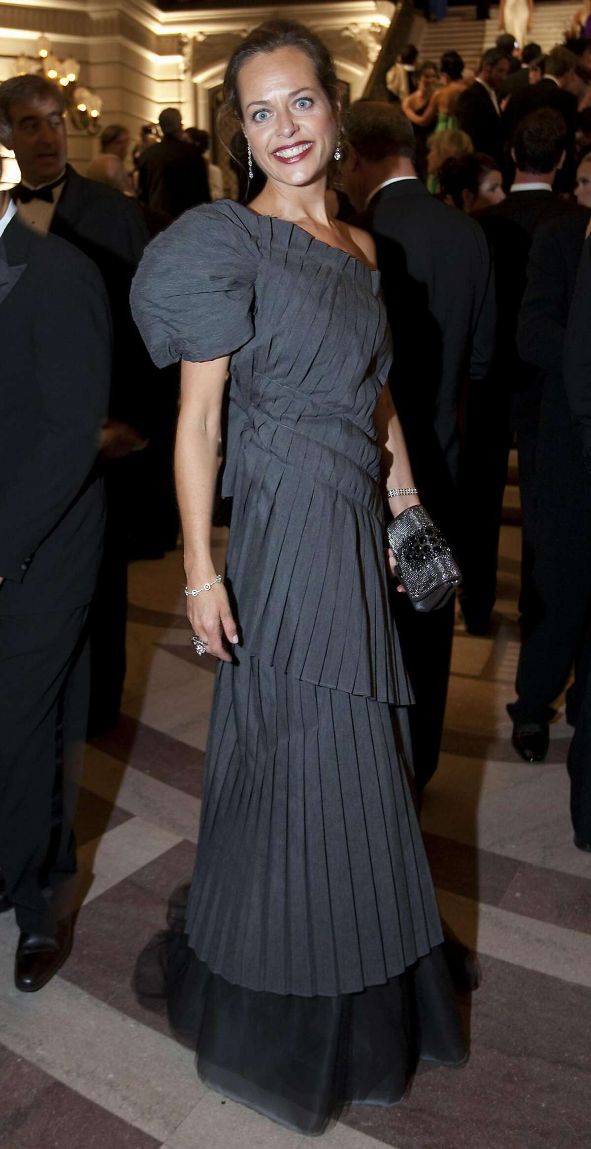 Charlot Malin wears a dress by designer Keyna Aramaguren during the opening night of the San Francisco Opera at the City Hall on September 11, 2009 in San Francisco, Calif. Photograph by David Paul Morris / Special to the Chronicle