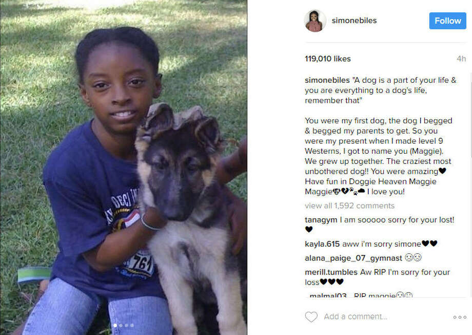 Simone Biles, Houston native and the most decorated U.S. gymnast, male or female, posted touching messages on social media about the death of her dog, Maggie, on Friday, March 17, 2017. Photo: Https://www.instagram.com/p/BRvmoFNjP52/