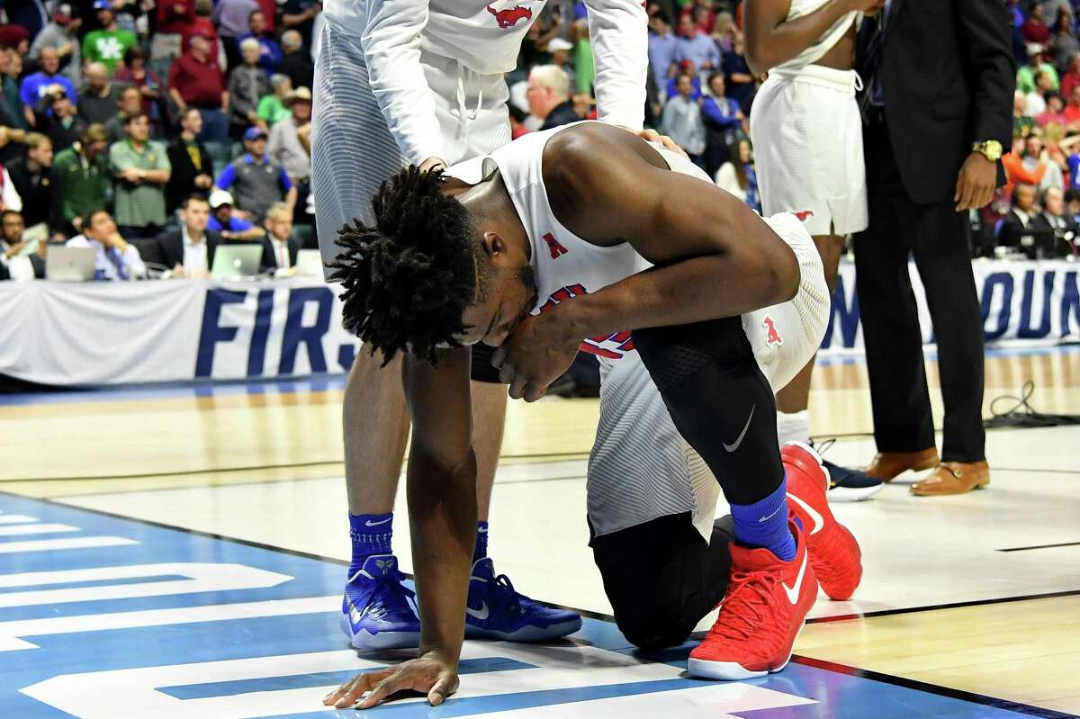 TULSA, OK - MARCH 17: Semi Ojeleye #33 of the Southern Methodist Mustangs reacts after being defeated by the USC Trojans during the first round of the 2017 NCAA Men's Basketball Tournament at BOK Center on March 17, 2017 in Tulsa, Oklahoma.