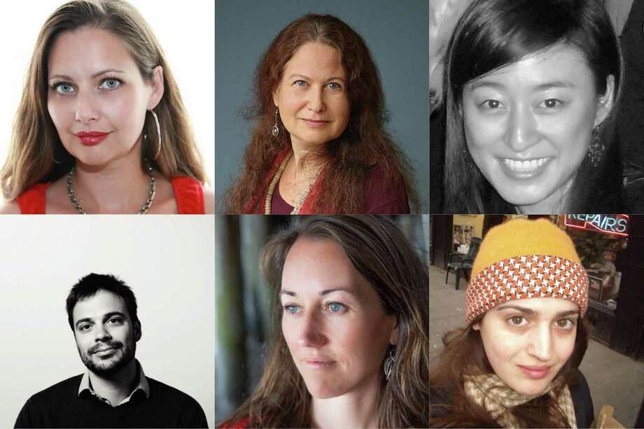 Six Bay Area writers who have received NEA grants (from left): Carolina De Robertis, Jane Hirshfield, R.O. Kwon. Second row, from left: Michael David Lukas, Rachel Richardson, Suzanne Rivecca.