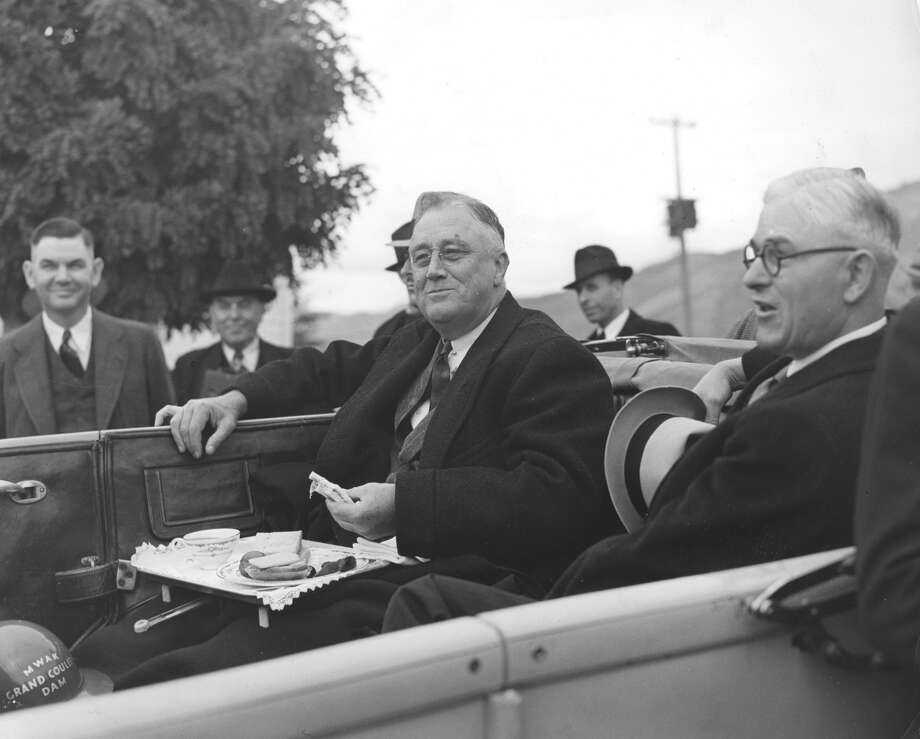 President Franklin D Roosevelt takes a break for lunch while visiting the Grand Coulee Dam, Washington, October 2, 1937. (Photo by Visual Studies Workshop/Getty Images) Photo: Visual Studies Workshop/Getty Images