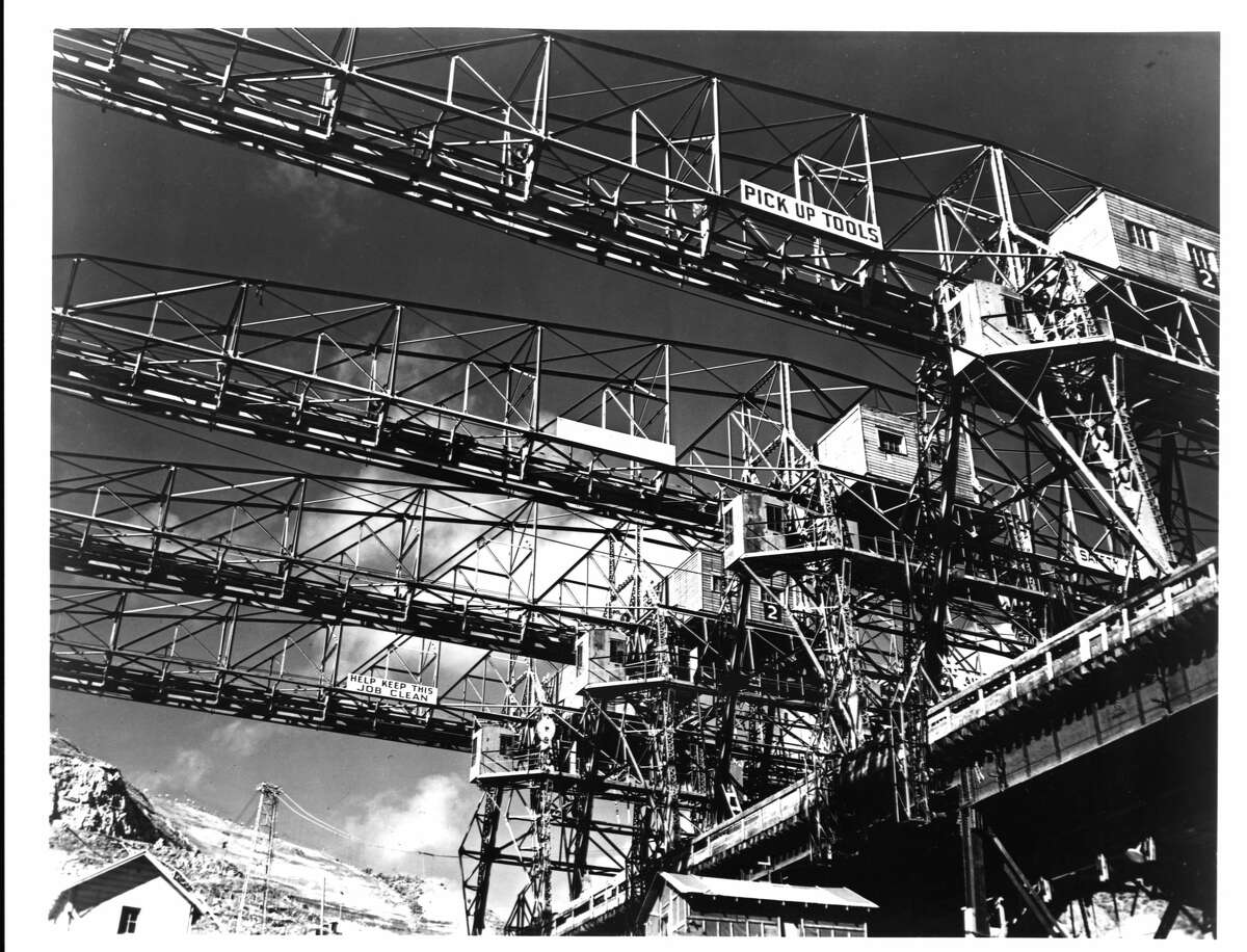 Industrial Cranes at Grand Coulee Dam Construction Site (Photo by Library of Congress/Corbis/VCG via Getty Images)