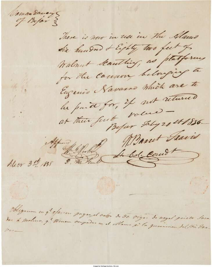 A document signed by William Barrett Travis, paired with another signed by John N. Seguin and Antonio Menchaca, is for auction in the Texana and Western Americana auction on March 24, 2017, in Dallas.Price: Bidding starts at $75,000 Photo: Heritage Auctions, Ha.com