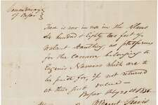 A document signed by William Barrett Travis , paired with another signed by John N. Seguin and Antonio Menchaca, is for auction in the Texana and Western Americana auction on March 24, 2017, in Dallas.    Price:  Bidding starts at $75,000