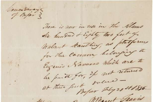 A document signed by William Barrett Travis, paired with another signed by John N. Seguin and Antonio Menchaca, is for auction in the Texana and Western Americana auction on March 24, 2017, in Dallas. Price: Bidding starts at $75,000