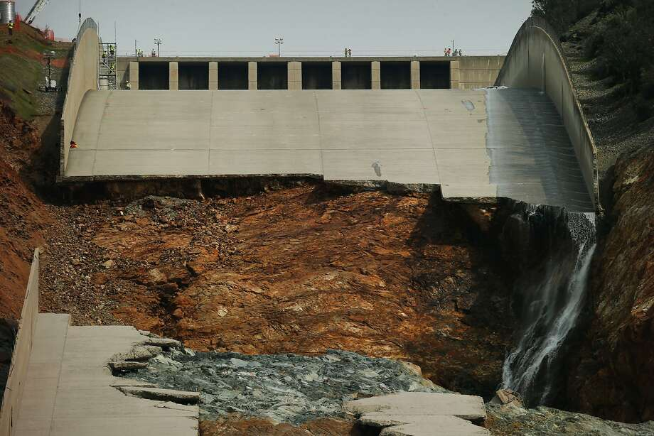 The damaged main spillway of the Oroville Dam is seen on March 3. Photo: Santiago Mejia, The Chronicle