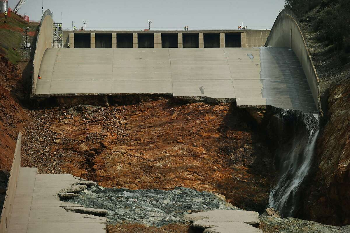 The damaged main spillway of the Oroville Dam is seen on Friday, March 3, 2017, in Oroville, Calif.
