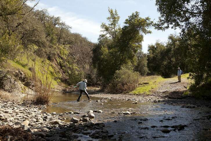 Tim Coogan and Alex Hua of Mountain View make their way through one of the streams at Henry W. Coe State Park in Morgan Hill Calif. on Saturday March 11, 2017. The park is well known for its rugged terrain and plentiful hiking trails and has several fresh water streams in the winter and spring.