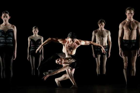 "Artists of Houston Ballet in the company premiere of Jiré­ Kylié¡n's ""Stepping Stones,"" one of three dances on the ""Legends and Prodigy"" program."