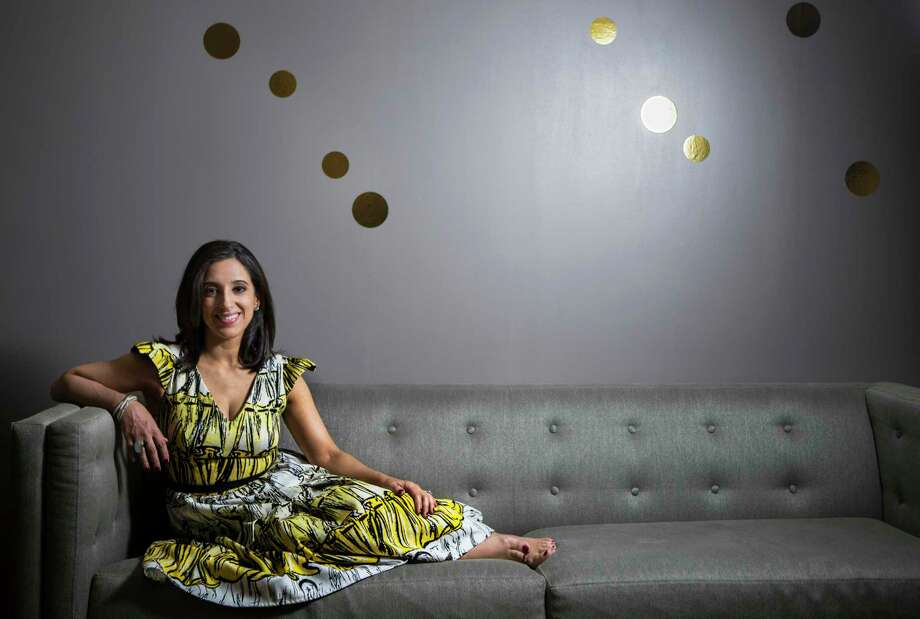 Rania Mankarious, executive director of Crime Stoppers, in a Miles David dress by Houston designer David Peck.  Photo: Marie D. De Jesus, Staff / © 2017 Houston Chronicle