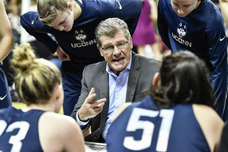 UConn coach Geno Auriemma and his Huskies will open their national title defense against Albany. Photo: Roy K. Miller / Associated Press / FR171497 AP