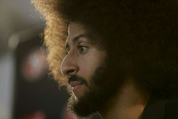 San Francisco 49ers quarterback Colin Kaepernick talks during a news conference after an NFL football game against the Los Angeles Rams Saturday, Dec. 24, 2016, in Los Angeles. The San Francisco 49ers won 22-21.(AP Photo/Rick Scuteri)