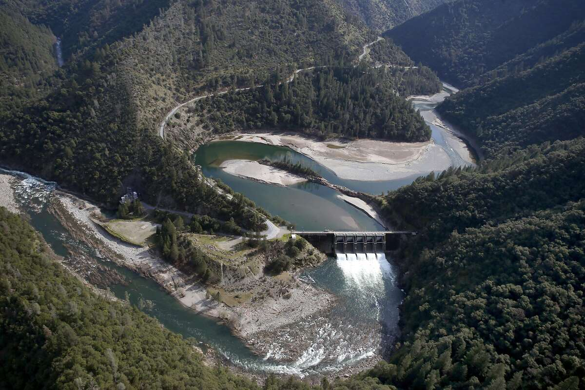 Water is released through the Ralston Afterbay dam which is a part of the Middle Fork American River watershed and managed by the Placer County Water Agency near Foresthill, Calif. on Wednesday, March 15, 2017. Energy generated from hydroelectric plants is expected to rise dramatically after a season of heavy rain and a deep snowpack.