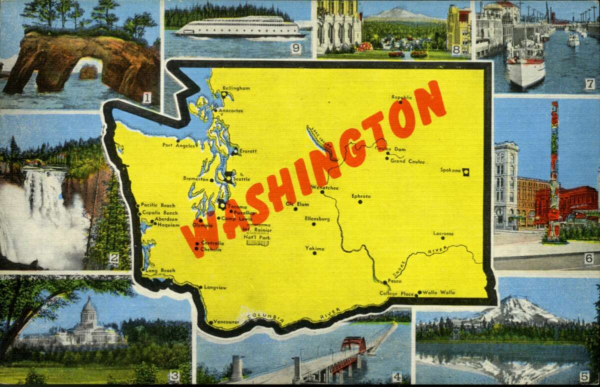 Color postcard with a map of the state of Washington highlights several scenes and vistas particular to the state, circa 1940. The postcard was published by EC Kropp.