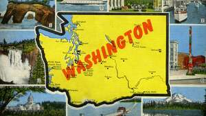 UNITED STATES - CIRCA 1940:  Color postcard with a map of the state of Washington, It highlights several scenes and vistas particular to the state, The postcard was published by EC Kropp  (Photo by Transcendental Graphics/Getty Images)