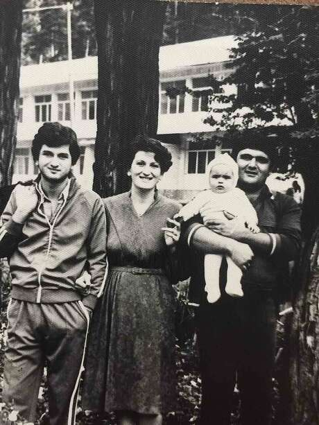 Zaza Pachulia, as a baby, in a family photo with his uncle (far left), mother (center) and father. Photo: Handout, Courtesy Zaza Pachulia