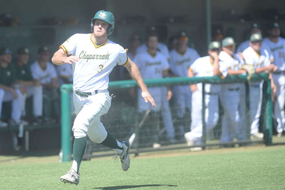 Midland College's Chad Curtis (3) runs home to score against New Mexico Military Institute on March 17, 2017, at Christensen Stadium. James Durbin/Reporter-Telegram