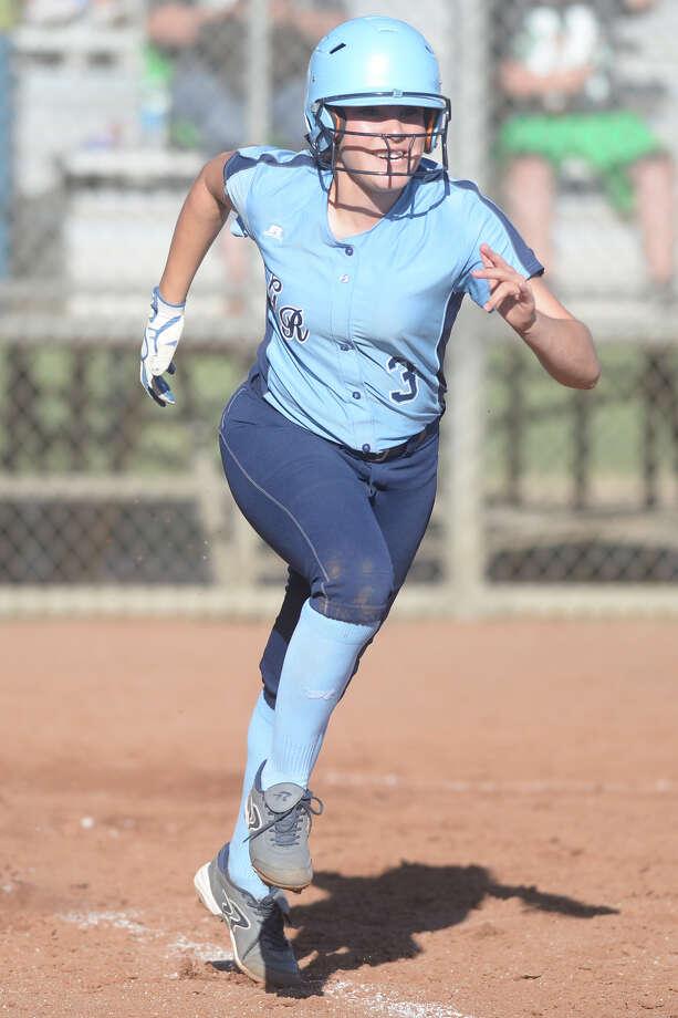 Greenwood's Jaylene Valenzuela runs the bases against Monahans on March 17, 2017, at Greenwood High School.  James Durbin/Reporter-Telegram Photo: James Durbin