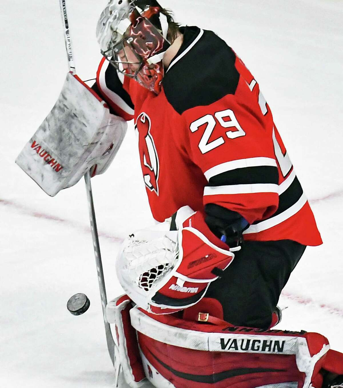 Albany Devils goalie #29 Mackenzie Blackwood stops a shot by the Springfield Thunderbirds during Friday's game at the Times Union Center March 17, 2017 in Albany, NY. (John Carl D'Annibale / Times Union)