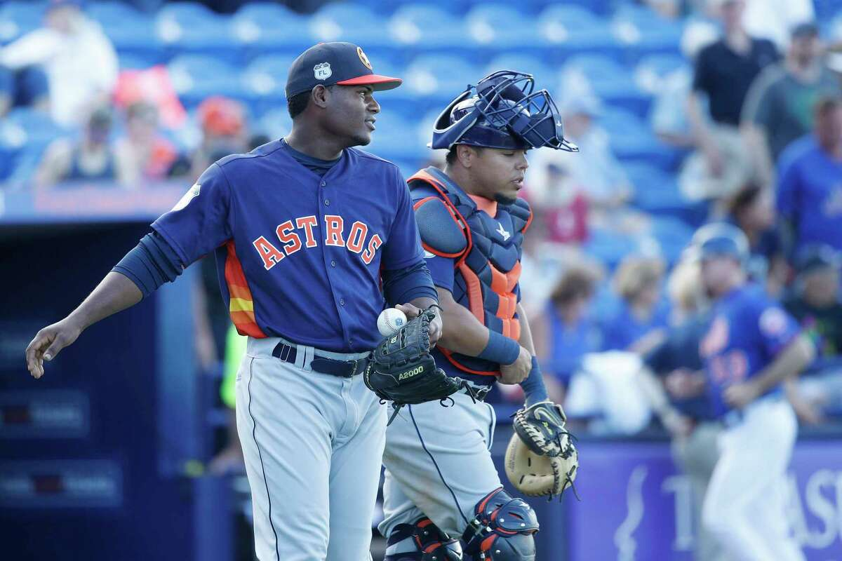 With lefty Tony Sipp, 33, coming off a career-worst season, Framber Valdez, left, could be in a position to rise rapidly through the minors to the Astros' bullpen.